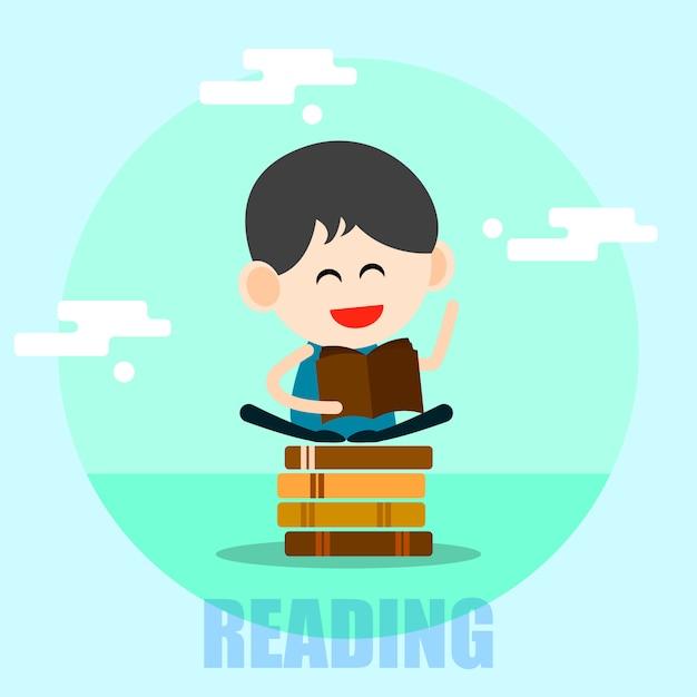 Leitura de menino feliz dos desenhos animados Vetor Premium