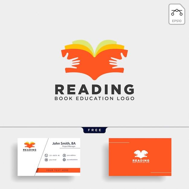 Leitura livro revista educação simples modelo de logotipo Vetor Premium