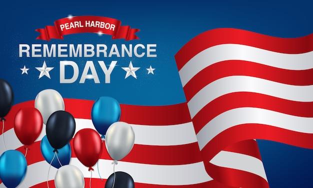 Lembrança do porto da pérola do fundo com bandeiras americanas, balões Vetor Premium
