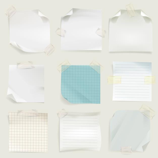 Lembretes e mensagem notas ilustração de páginas de papel em branco memorando para tarefa Vetor grátis