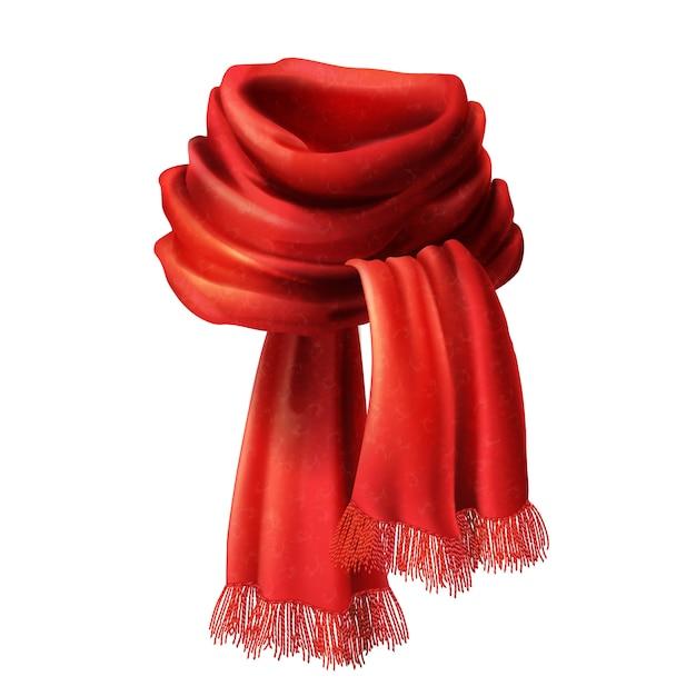 Lenço vermelho de seda 3d realista. pano de tecido de malha, lã de alpaca para o inverno Vetor grátis