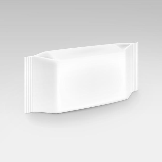 Lenços umedecidos guardanapos em branco branco embalagem pacote pack em fundo Vetor Premium