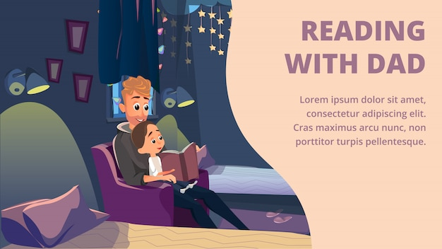 Lendo com o pai banner lendo o pai para o filho Vetor Premium