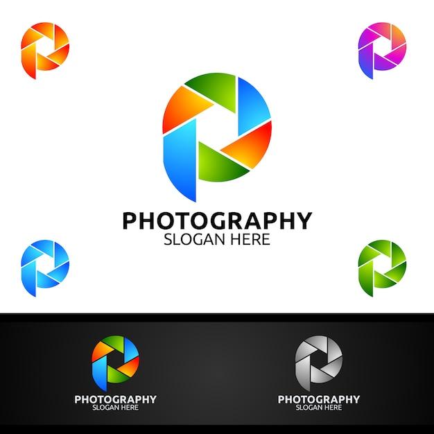 Lente de câmera abstrata fotografia logo Vetor Premium
