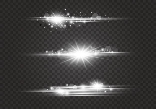 Lente flares e efeitos de iluminação em fundo transparente Vetor Premium