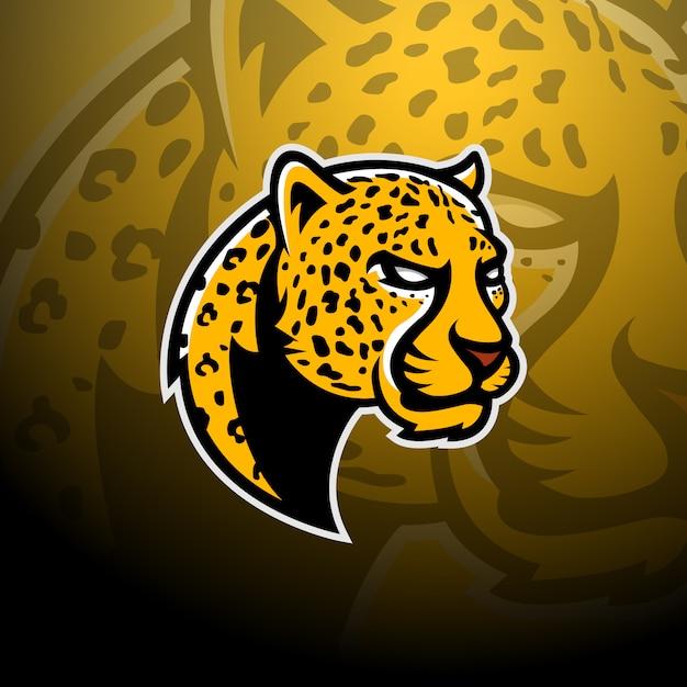 Leopard head logo gaming esport Vetor Premium
