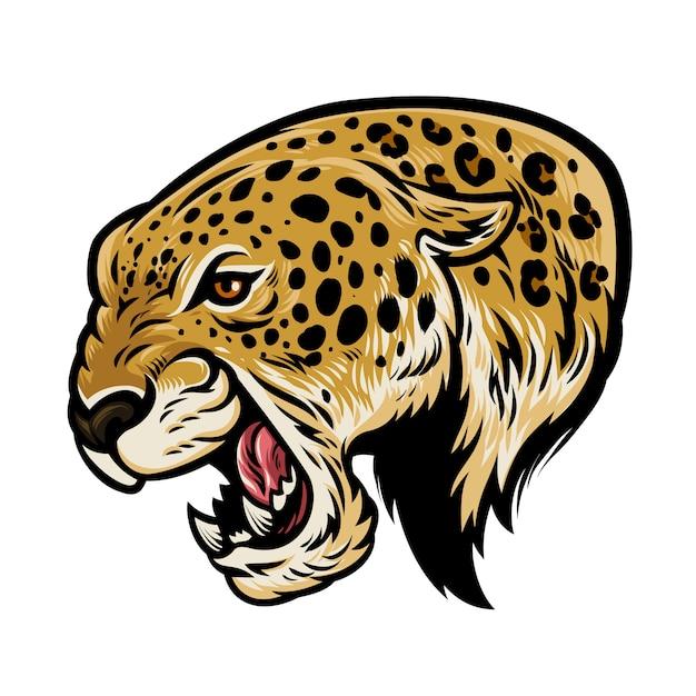 Leopardo agressivo com raiva Vetor Premium
