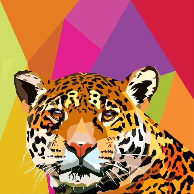 Leopardo pop art vector Vetor Premium
