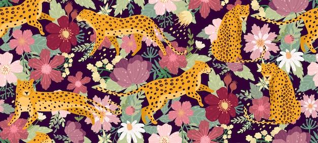 Leopardos cercados por belas flores. textura sem emenda do teste padrão do verão elegante do verão no estilo na moda. Vetor Premium