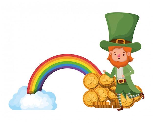 Leprechaun com o personagem de avatar de arco-íris Vetor Premium