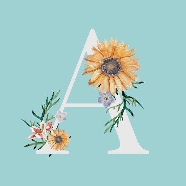Letra a com flores Vetor grátis