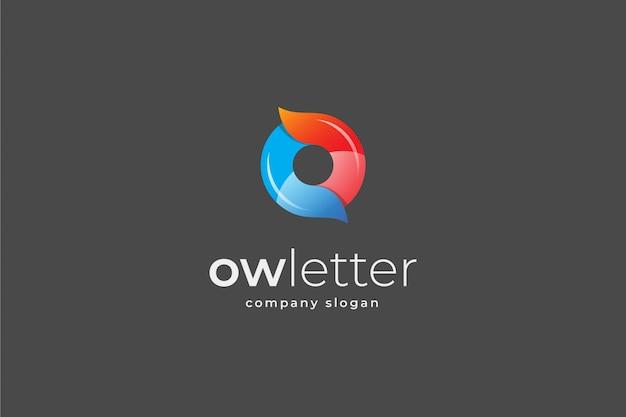 Letra abstrata ou modelo de logotipo 3d Vetor Premium