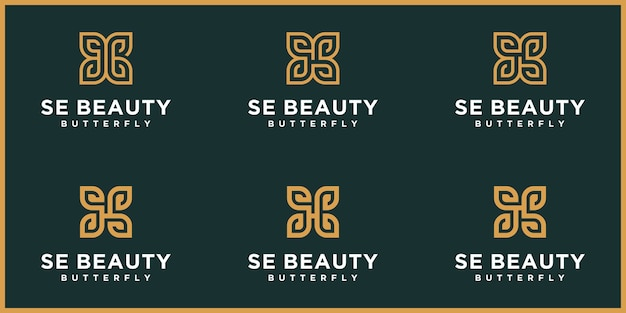 Letra abstrata se, logotipo s, borboleta dourada, logotipo de beleza Vetor Premium