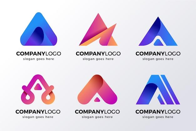 Letra alfabética uma coleção de logotipo Vetor grátis