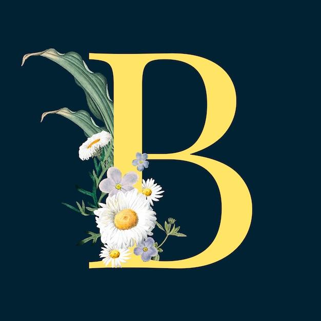 Letra b com flores Vetor grátis