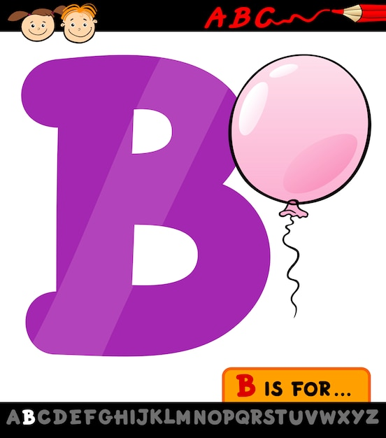 letra b com ilustração de desenho animado de balão baixar vetores