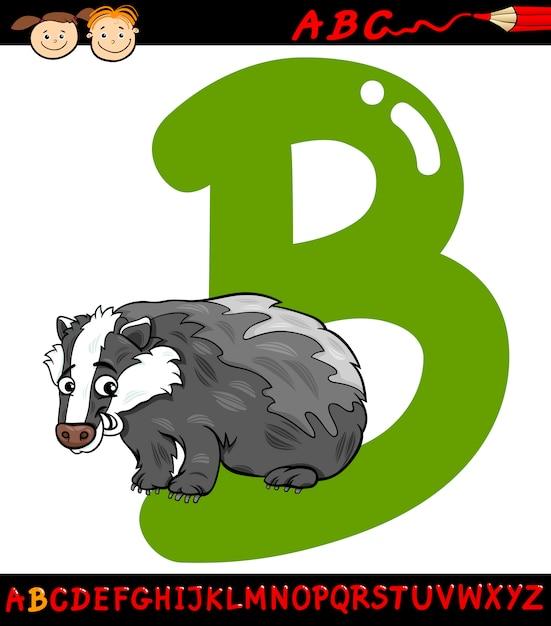 Letra b para ilustração de desenho animado de texugo Vetor Premium