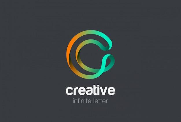 Letra c infinita fita design de logotipo. Vetor Premium