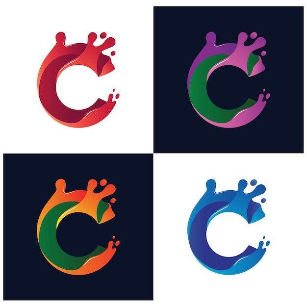 Letra c liquid coleção de vetores de logotipo colorido Vetor Premium