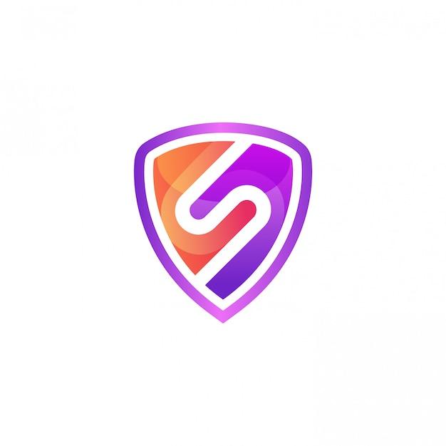 Letra colorida s com modelo de vetor de design de logotipo de escudo Vetor Premium
