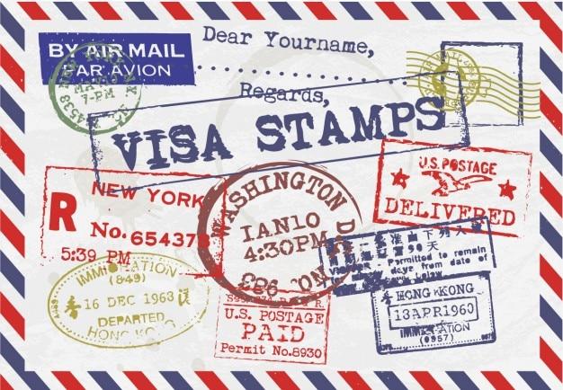 Letra com selos de visto Vetor grátis