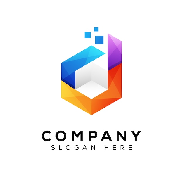 Letra d caixa logotipo, logotipo de caixa de cubo de tecnologia Vetor Premium