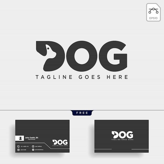Letra d cão animal de estimação linha arte estilo logo Vetor Premium