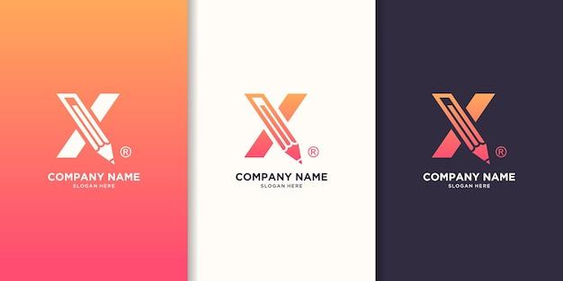 Letra da caneta x logotipo do conceito Vetor Premium