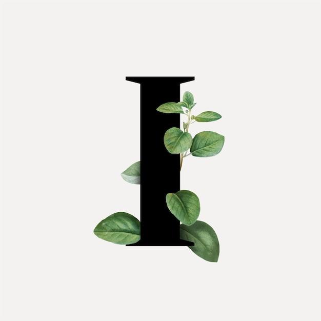 Letra da fonte botânica i Vetor grátis