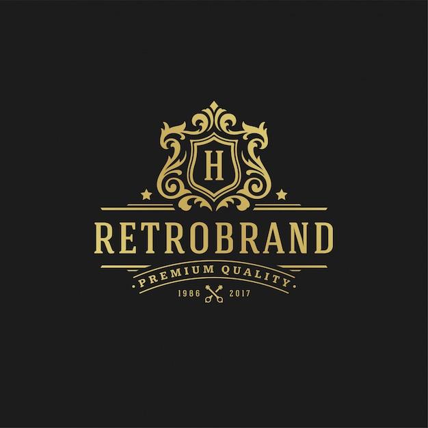 Letra de design de logotipo de luxo h Vetor Premium