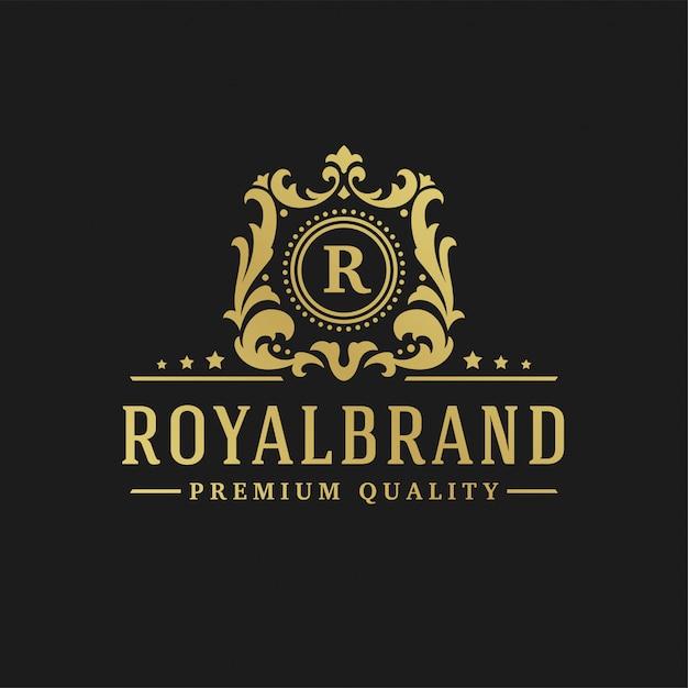 Letra de design de logotipo de luxo r Vetor Premium