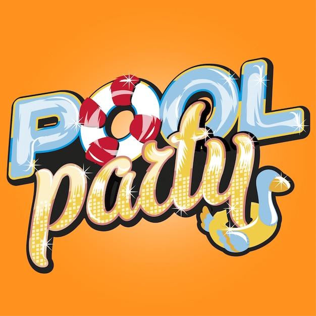 Letra de festa na piscina Vetor Premium