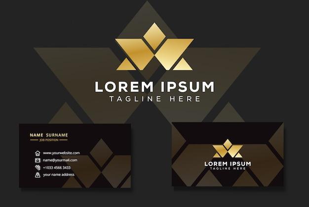 Letra de luxo moderno w e um logotipo, logotipo estrela triângulo com cartão de visita Vetor Premium