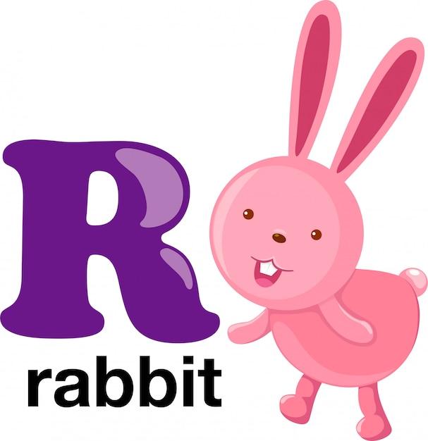 Letra do alfabeto animal - r Vetor Premium