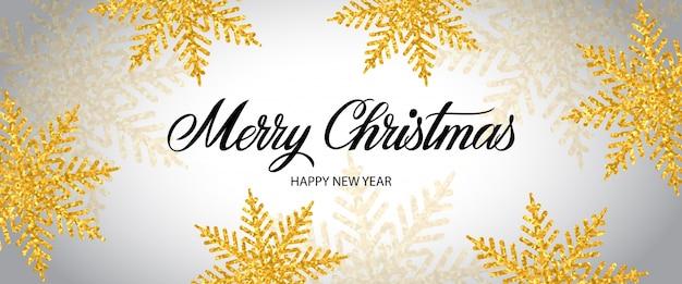 Letra do feliz natal com flocos de neve Vetor grátis