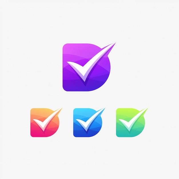 Letra do logotipo da lista de verificação d correta Vetor Premium