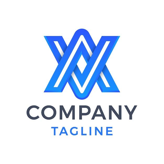 Letra do monograma moderno va abstrato 3d em linha design de logotipo gradiente azul Vetor Premium