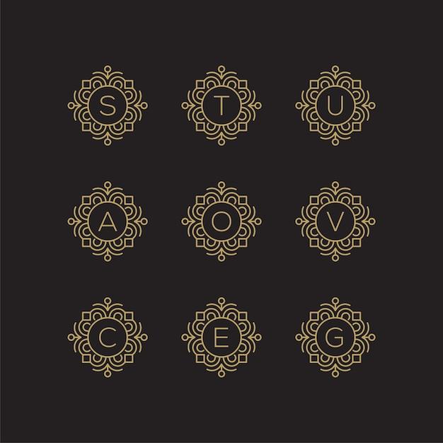 Letra dourada s, t, u, a, o, v, c, e, g, logotipo. Vetor Premium