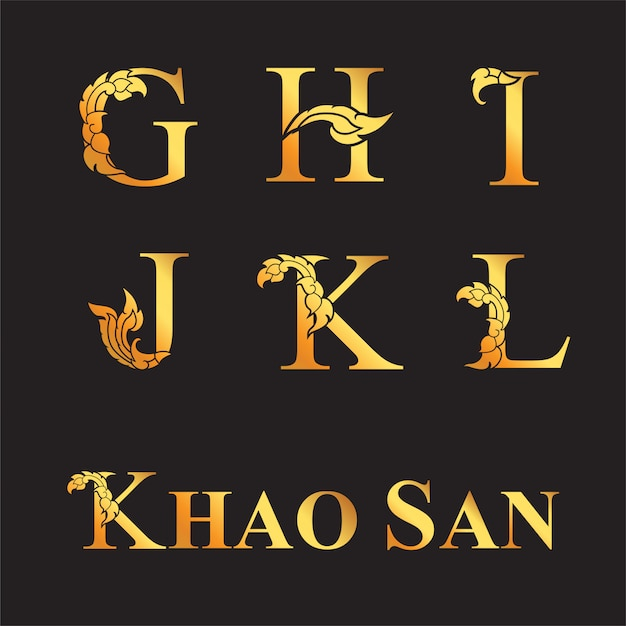 Letra elegante dourada g, h, i, j, k, l com elementos de arte tailandesa. Vetor Premium