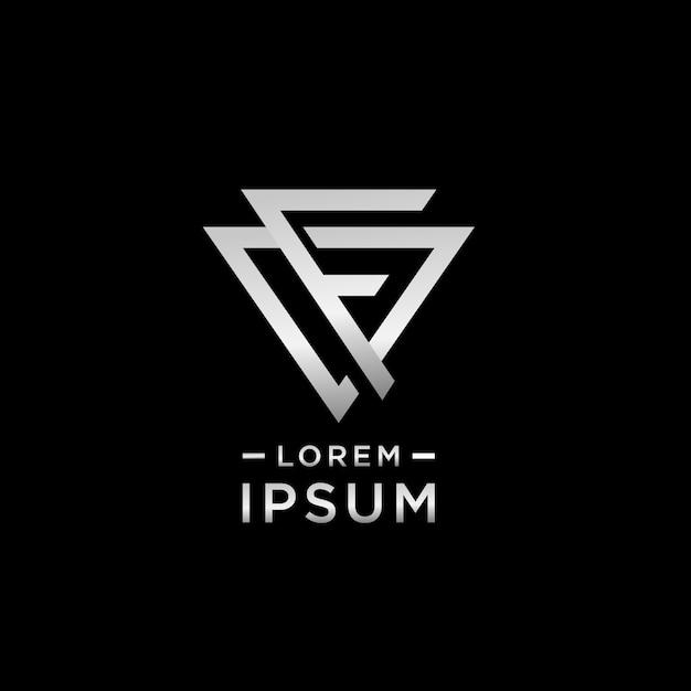 Letra f alfabeto logotipo design negrito e simples estilo triângulo forma Vetor Premium