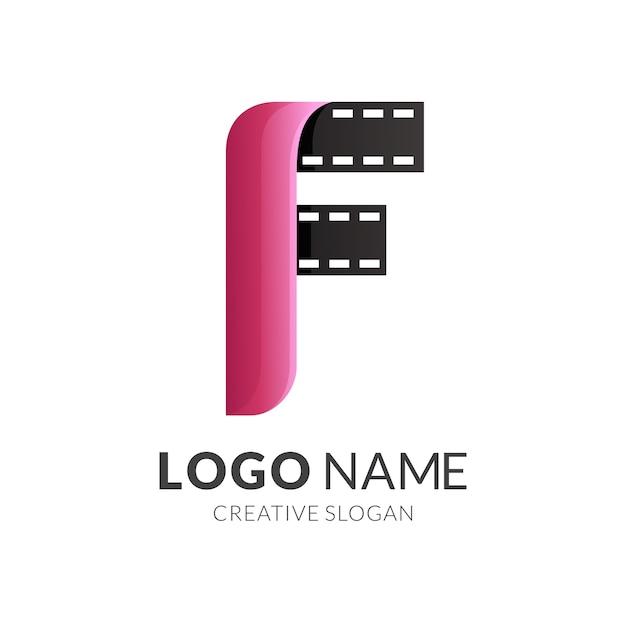 Letra f e logotipo do filme, estilo de logotipo moderno em gradiente vermelho e preto Vetor Premium