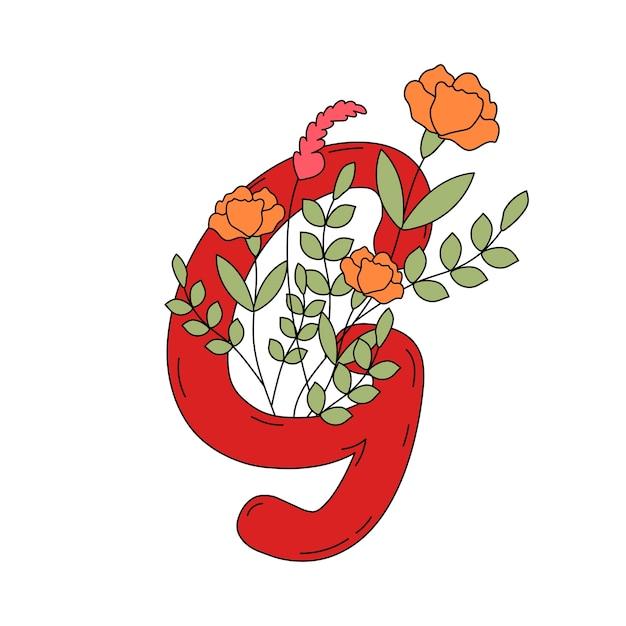 Letra g com folhas e flores vector Vetor grátis