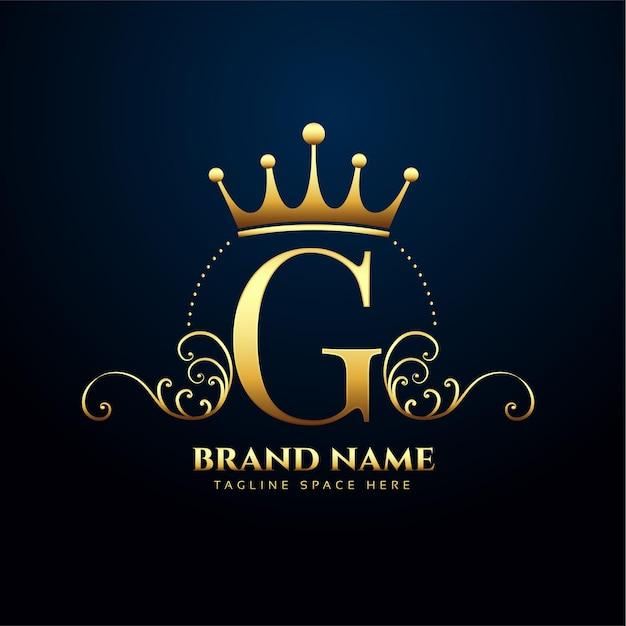 Letra g floral premium e design de logotipo em coroa Vetor grátis