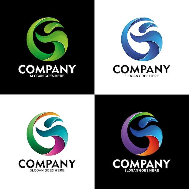 Letra g logotipo e pessoas com estilo de onda do mar, logotipo onda moderna, pessoas e letra g Vetor Premium