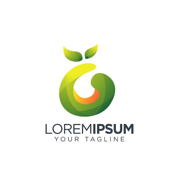 Letra g logotipo fruta natural design Vetor Premium