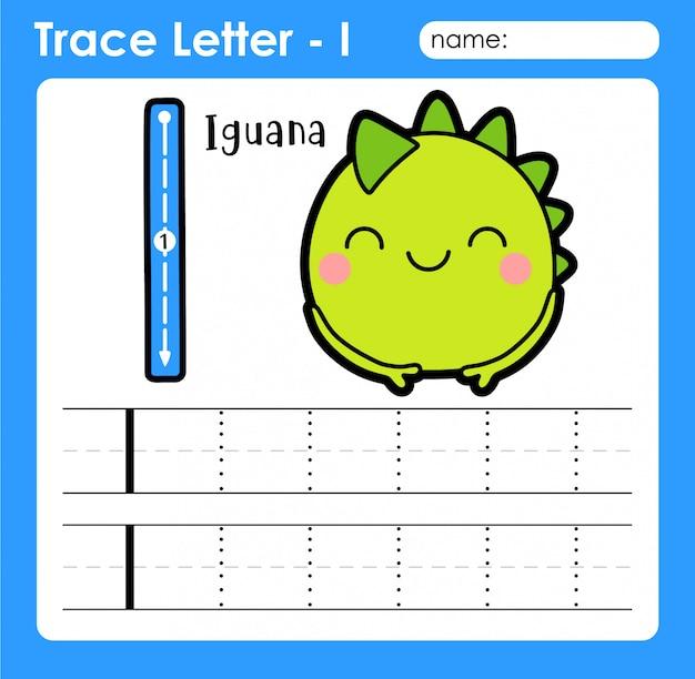Letra i maiúscula - planilha de rastreamento de letras do alfabeto com iguana Vetor Premium