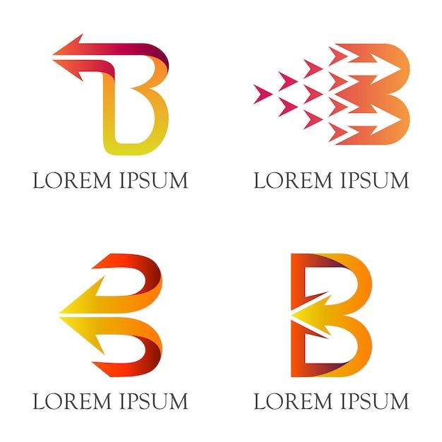 Letra inicial b com logotipo do negócio da seta Vetor Premium