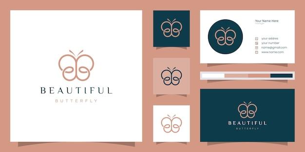 Letra inicial bb com elementos abstratos de borboleta. logotipo minimalista da forma do monograma da arte em linha, Vetor Premium