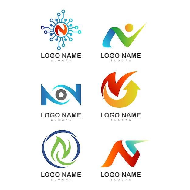 Letra inicial criativa n modelos de logotipo Vetor Premium