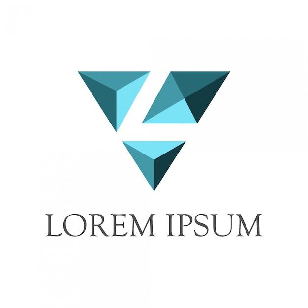 Letra inicial l + logotipo de diamante com estilo de espaço negativo Vetor Premium